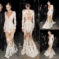 Zuhair Murad Mermaid Prom Dress Appliques Sheer Deep V Neck Illusion Long Sleeve Sexy Red Carpet Gown Evening Dresses