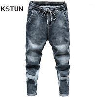 Kstun Jeans pour hommes Blue Grey Fit Fit Patchée Taille élastique Loisirs Bonne Qualité Vêtements pour hommes Pantalons Pantalons Denim Pants Cowboys1