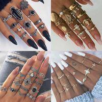 Baumel kronleuchter 9 design boho vintage gold stern mond ringe set für frauen opal kristall midi finger ring 2021 weibliche böhmische schmuck geschenke