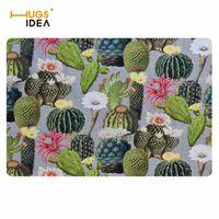 Carpets HUGSIDEA Cactus Floral 3D Printed Non-slip Home Decor Mats Rugs For Kids Bedroom Creative Doormat Tapetes Para Casa Sala