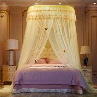 Ädla lila rosa bröllop rund spets hög densitet prinsessa säng nät gardin Dome drottning canopy myggnät #sw 364 r2