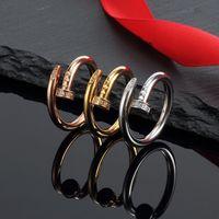 2021 مسمار التيتانيوم الصلب الفضة الزركون الحب خواتم الرجال والنساء روز الذهب الدائري مجوهرات لعشاق زوجين هدية الزفاف