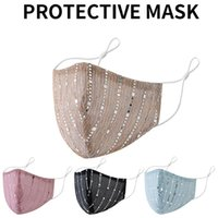 Fashion Sequin Face Mask Adjustable with Ear Cord Locks Washable Reusable Dust Masks Accessories for Women GWF10336