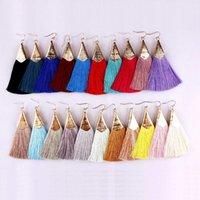 Dangle & Chandelier Polished Arrowhead Silk Tassel Long Fan Fringe Drop Earrings For Women Thanks Giving Day Gift Mother Chic
