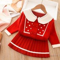 Baby Girls PoLka Dots вязаная одежда наборы одежды Детские отводы Falbala двубортный свитер кардиган + полоса плиссированная юбка 2 шт. Леди стиль детей нарядов Q1050