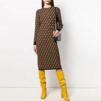 FF Casual Sukienki Klasyczne Rocznika Dzianiny Dress Moda List Kobiet Wzór Dziątkowy Z Długim Rękawem Wysokiej Jakości Kobiet Odzieżowa Odzież Neck Jesień Krycia