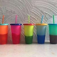 710ML لون درجة الحرارة تغيير كوب بلاستيك بهلوان زجاجة مشروب الباردة مع القش وغطاء ماجيك كأس الصيف drinkware 367 R2