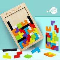 لون الملونة 3D لغز خشبي tangram لعب لعبة الوالدين والطفل التفاعلية عيد ميلاد التعليمية المبكرة هدايا للبنين وفتاة