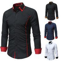 Men's Dress Shirts Brand Camisa Masculina Long Sleeve Shirt Men Korean Slim Double Collar Design Solid Casual Plus Size Black