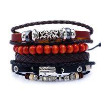 Jessingshow Punk Bracelet Men Women Genuine Leather Wood Beads Wristband Handmade Braided Wrap Bracelets Set Fashion Jewelry Bangle