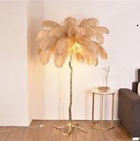 Kreative Feder Stehleuchte für Luxus Wohnzimmer EL Hall Dekoration Hochzeitslicht Kupfer Made Dia120cm H160CM Wongshi Lampen