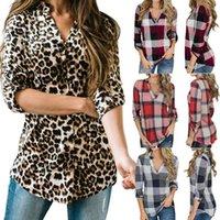عبر الحدود الأوروبية والأمريكية التجارة الخارجية المرأة الملابس الرغبة ربيع الخريف قميص منقوشة طباعة الخامس الرقبة ل البلوزات القمصان