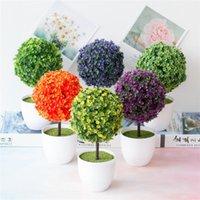 Dekoratif Çiçekler Çelenk Yapay Saksı Bitki Bonsai Plastik Saksı Süsler Simülasyon Çiçek Çim Doğum Günü Partisi Dekor Ev