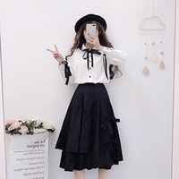 Skirts Dark Street For Women Japanese Solid Black Irregular Loose A-line Skirt Casual Bow Soft Fluffy Knee Long Winter