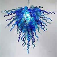 핸드 블로운 유리 크리스탈 샹들리에 LED 아트 펜던트 램프 블루 W80x70cm 실내 조명 현대 거실 장식