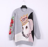 Runway Female Long Sleeve Oversized Knitted Pullovers Women Winter Animal Print Jumper Flower Top Ladies Sweaters Thick Women's