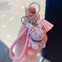 Креативный мультфильм полный алмаз медведь кисточкой автомобиль брелок кулон милый мужчина и женская сумка цепь ключей милый подарок рождественский подарок 307 S2