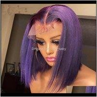 Purpurrote Farbe Perücke Kurze Bob Patrt Human Prepucked farbig für Frauen Remy Brazilian Uhdu3 P3LBX