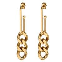 Dangle & Chandelier European And American Simple Metal Ear Stud Tide Stainless Steel Gold Color Minimalist Tassel Drop Earrings Women Jewelr