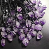 Natural amethyst original stone pendant necklace with leather rope