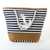Fashion leisure one shoulder canvas bag women's summer large capacity creative stripe tassel beach bag