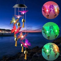 Solar Power Lamp Butterfly Wind Chime Light LED Color Changing LED Garden Hanging Spinner Lamp For Home Party Garden Yard 2021