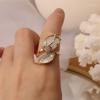 South Korea's new design fashion jewelry exquisite copper inlaid zircon opal tulip creative opening ring female prom party ring1