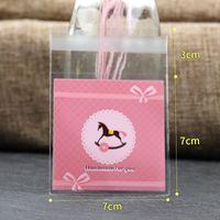 100 peças / lote de adorável bowknot rosa branco verde adesivo saco plástico selado 7 * 7cm saco de jóias exposição de embalagens Atacado 424 T2