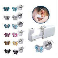 6pieces Assoretd Butterfly Crystal Disposable Ear Units Stud Earring Gun Tools Kit Body Piercing Jewelry