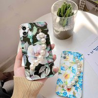 Card Holders Bracelet IPhone11Promax Small Fresh Silicone Soft Shell Suitable For Apple 12 Mobile Phone Case Imd Flower Pearl