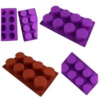 Cup Shaped Cake Baking Mould Hand Made Soap Silicone Molds Eight Circles Ice Cube DIY Tool Non-Toxic High Temperature Resistance