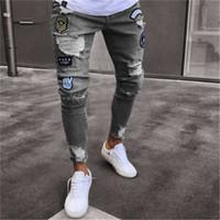 Men Stylish Ripped Jeans Pants Biker Skinny Slim Straight Frayed Denim Trousers New Fashion Skinny Jeans Men Clothes1