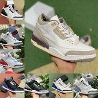 Высочайшее качество Гонщик Blue 3 3s Баскетбольные Обувь Мужская Обувь Cool Grey Ma Maniere Fragment Fragment Knicks Jth Jordán Цемент NRG Джинсовый Красный Черный Цемент Чистый белый тренеров