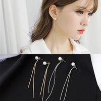 2020 New Fashion Korean Elegant Women Long Drop Earring CZ Pearl Charm Pendent Snake Chain Tassel Female Earrings for Women