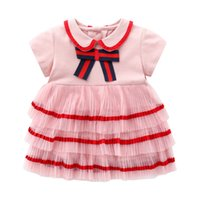 Baby Girl Dress 2021 Summer New Style European and American Style Baby Girl 1-3 Years Old Pink Bow Cotton Dress