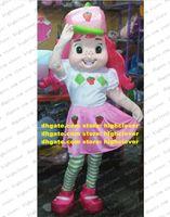 Fantasia rosa morango shortcake mascot traje mascotte lassock menina adulto com olhos verdes rosa greens chapéu no.1853 navio grátis