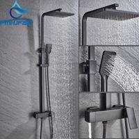 FMHJFISD Luxo Preto Conjunto de Chuveiro Chuveiro Torneira Quente e Frio Preto Faucet Mixer Taps