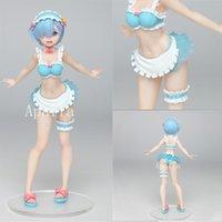 REM Anime Re: Vie dans un monde différent de Zero ExQ Rem maillot de bain Ver Pvc Action Figurine Modèle de jouets Cadeau Action Cadeau Figure T200704 Q0422