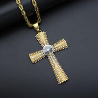 Pendant Necklaces Hip Hop Jewelry Bling Rapper Iced Out Rhinestone Gold Color Stainless Steel Solid Round Cross Necklace For Men And Women