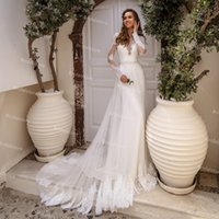 Elegant Bohemain Style Mermaid Wedding Dress With Overskirt Train 2021 Lace Long Sleeve Boho Bridal Gowns Open Back Country Bride Dresses Robes De Mariage