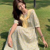 Large Size Fat Mm Women's 2021 Summer New Fashion Temperament Floral Design Sense Chiffon Skirt