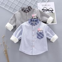 Shirts Winter Baby Boy Long Sleeve Stripe Tops Casual Plus Cashmere Blouse 6M-3T
