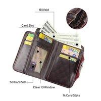 Portafoglio del portafoglio della sezione della carta di credito della sezione della sezione del retro in pelle da uomo con HASP