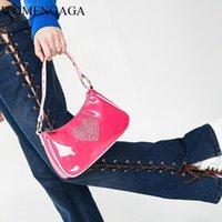 Duffel Bags Sweet Girls Cute Kawaii Pink Baguette Bag Women 90s Vintage Rhinestone Heart Mini Handbag Chic Patent Leather PU Axillary Pouch