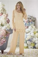 2022 Long Sleeve Mother's Pants Suit Chiffon Lace Mother of the Bride Dress Sexy Evening Party Prom Formal Dresses