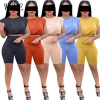 WUHE Casual Summer Outfits Sleeveless O Neck Strapless Shoulder Pads Crop Top and Tight Short Pants Sports Fitness 2 Piece Suits X0612