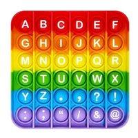 RAINBROW İngilizce Alfabe Numaraları Fitget Oyuncaklar Pop It Oyunu Oyunu Yetişkin Çocuk Için İtmek Kabarcık Fidget Sensory Oyuncak Otizm Özel İhtiyaç Stres Rahatlatıcı Popoit Figet Speelgoed