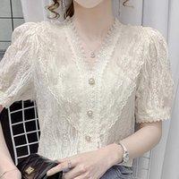Women's Blouses & Shirts Summer Short Sleeve Blouse Women Ruffles V-Neck Lace Shirt Tops Blusas Mujer De Moda 2021 Femme F43