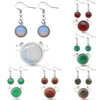Earrings & Necklace Natural Stone Women's Jewelry Set Fashion Stainless Steel Ring For Women Handmade Opal Red Agate Party Wedding Gift