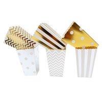 Regalo envoltura oro plata dot onda papel rayado papel palomito caja maíz dulces / sangk favor bolsa navidad boda niño cumpleaños fiesta decoración